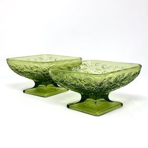 Vintage Indiana Glass Footed Candy Dish Bowls